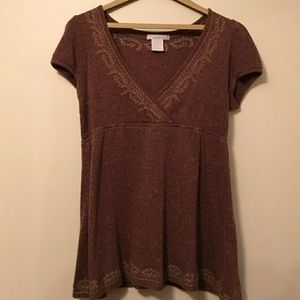 ❤ { CHARLOTTE RUSSE } | Brown-Red Embroided Top